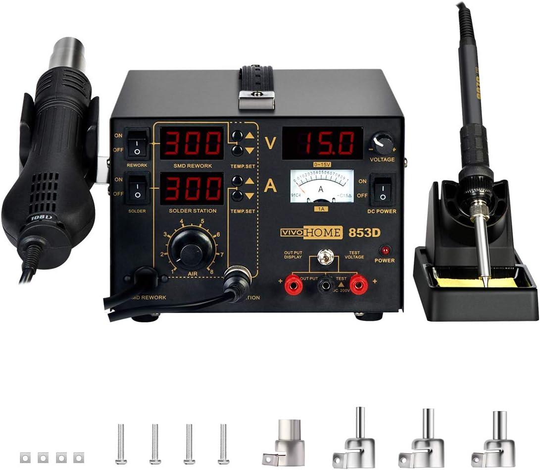 DC Power Supply Solder Iron 3in1 853D Rework Soldering Station Hot Air Gun