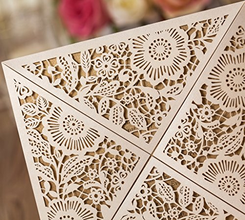 Wishmade 100X Square Laser Cut Wedding Invitations Kit With White Envelope and Envelope Seals Card Stock For Engagement Bridal Shower Birthday Baby Shower Party CW520_WH by Wishmade (Image #5)