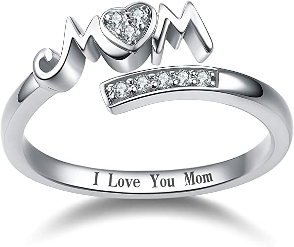 Amazon Com Yfn 925 Sterling Silver Mom Rings Mothers Ring Women