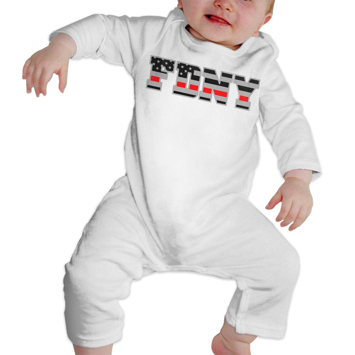 FDNY Thin Red Line American Fire Fighter Flag Infant Baby Girl Boys Soft /& Breathable Romper Pajama Clothes