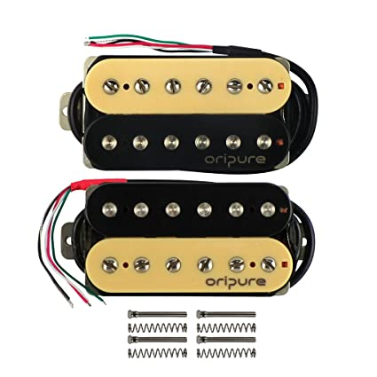 Amazon.com: OriPure Alnico 5 Double Coil Guitar Humbuckers Zebra Neck & Bridge Pickups Set for Electric Guitar Part: Musical Instruments