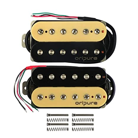 Amazon.com: OriPure Alnico 2 HH Electric Guitar Humbucker Pickups Neck&Bridge Pickups Zebra for 6 Strings Guitar Part: Musical Instruments