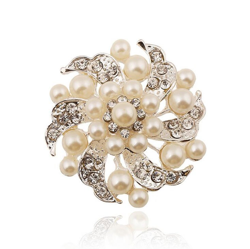 LAAT Pearl Flower Designed Broochs Ornament Fashion Jewelry Corsage Lover Gift Pin Shawl Clip for Christmas Wedding Bridal Party Decoration