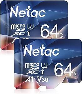 Netac 64GB Micro SD Card 2Packs, microSDXC UHS-I Memory Card - 100MB/s, 667X, U3, C10, Full HD Video V30, A1, FAT32, High Speed Flash TF Card P500 for Smartphone/Bluetooth Speaker/Tablet/PC/Camera