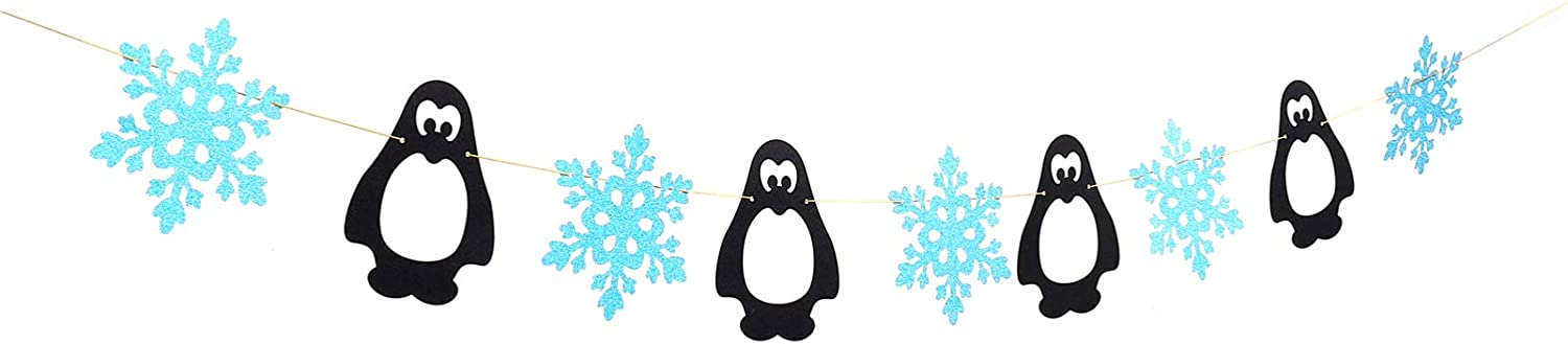 Amosfun Snowflake Birthday Banner Penguin Hanging Garland Bunting Winter Party Decoration for Home Bar Club Wonderland Frozen Theme Baby Shower Gender Reveal Party Decoration