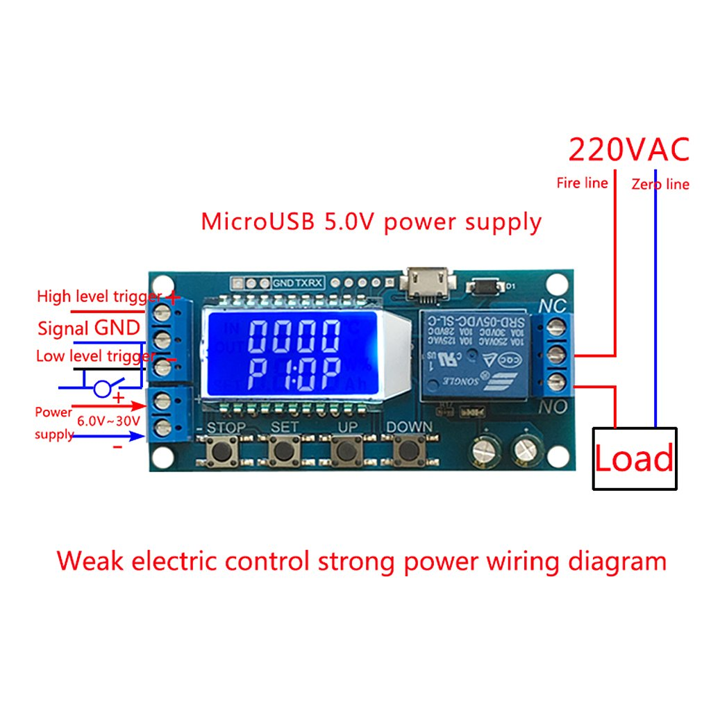 Goodqueen DC 6-30V Support Micro USB 5V LCD Display Automation Cycle Delay  Timer Relay - - Amazon.com
