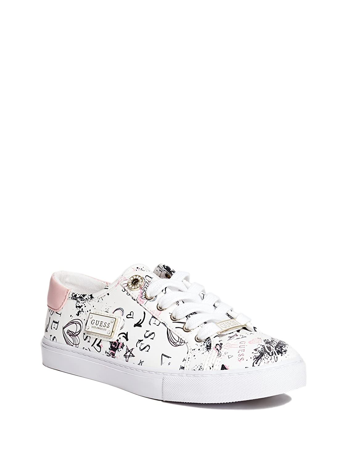 GUESS Factory Women's Greatly Printed Sneakers B07BJHDB4F 7 B(M) US|White Multi Leather
