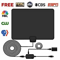 HDTV Antenna, 2018 Indoor Digital TV Antenna 60 Miles Range with Amplifier Signal Booster,4K 1080p HD High Reception with USB Power Supply & 16.5FT Coax Cable