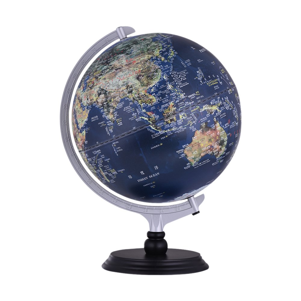 Aibecy USB 2 in 1 LED Desktop World Globe Tellurion Daytime View Satellite Image Night View Illuminated Political Map with Stand for Office Home Decoration School Students Educational Accessory