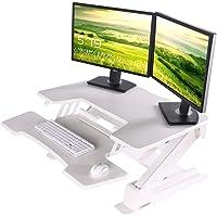 EUREKA ERGONOMIC Height Adjustable Standing Desk Converter 36'' Stand Up Desk Converter for Dual Monitors White