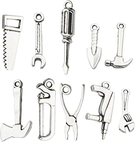 Adjustable Spanner And Open Wrench Movable 3D .925 Solid Sterling Silver Charm