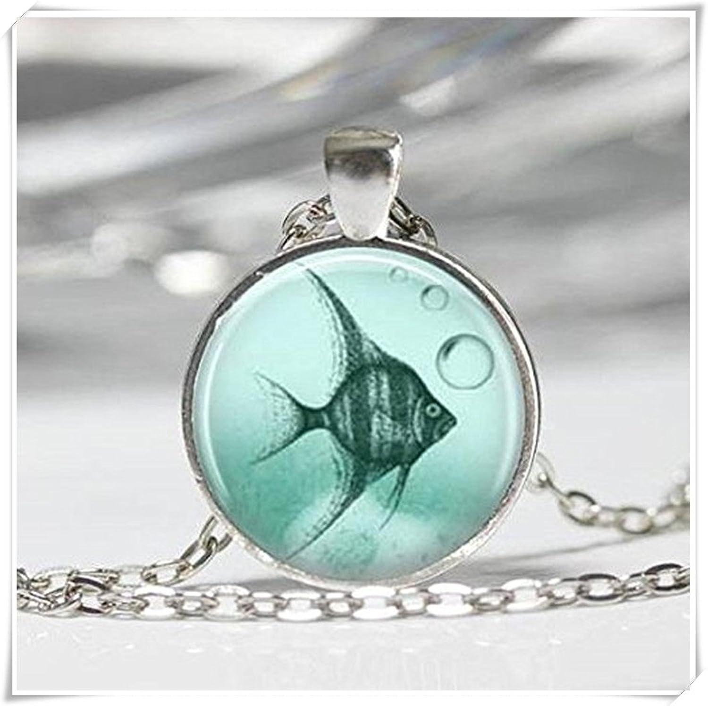 Ángel collar peces tropicales océano playa joyería colgante