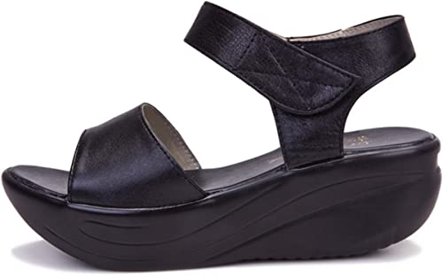damen sandalen platteau schwarz leder
