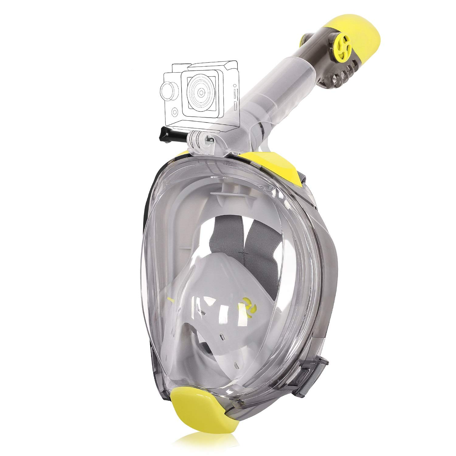 Unigear Full Face Snorkel Mask [2019 Safety Upgraded Version] - Panoramic 180° View with Handler Detachable Camera Mount, Anti-Fog Anti-Leak Free Breath Design (Yellow/Grey, Small/Medium) by Unigear