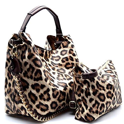 Handbag Republic Leopard Print Hobo w/Inner Bag Crossbody- Golden Tan Leopard Print Hobo Handbag