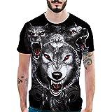 RETUROM -Camisetas Camiseta para Hombre, Personalidad para Hombre 3D Imprimir Lobos Casual Camisa de