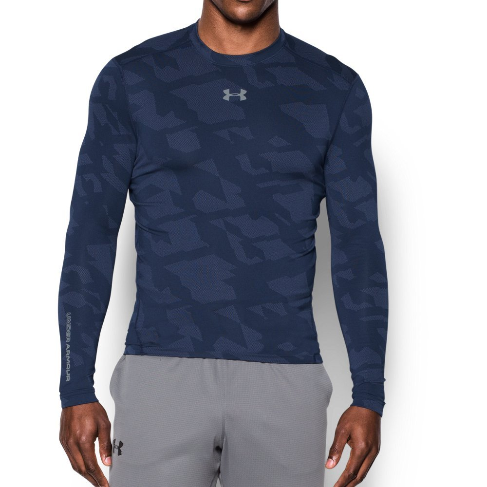 Under Armour Men's ColdGear Armour Jacquard Compression Crew, Midnight Navy/Steel, Small