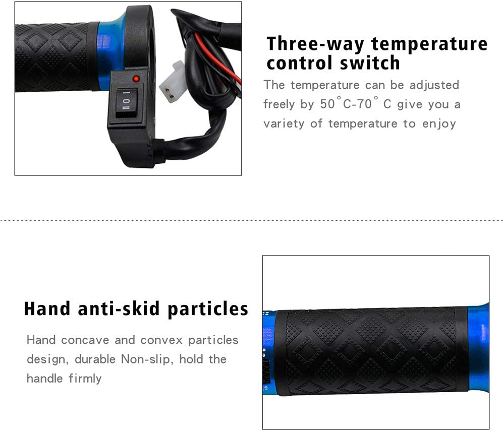 Heated Motorcycle Grips Motorbike Hotgrips Gear 12v 22mm 7//8 Inch Winter Waterproof Electric Heated Handlebar With Switch Controller Easier To Fit
