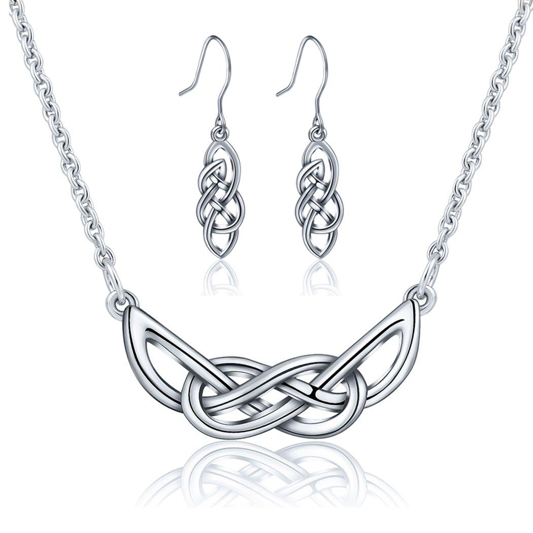 AEONSLOVE Women's 925 Sterling Silver Celtic Knot Pendant Necklace Earrings Jewelry Set, Best Gifts