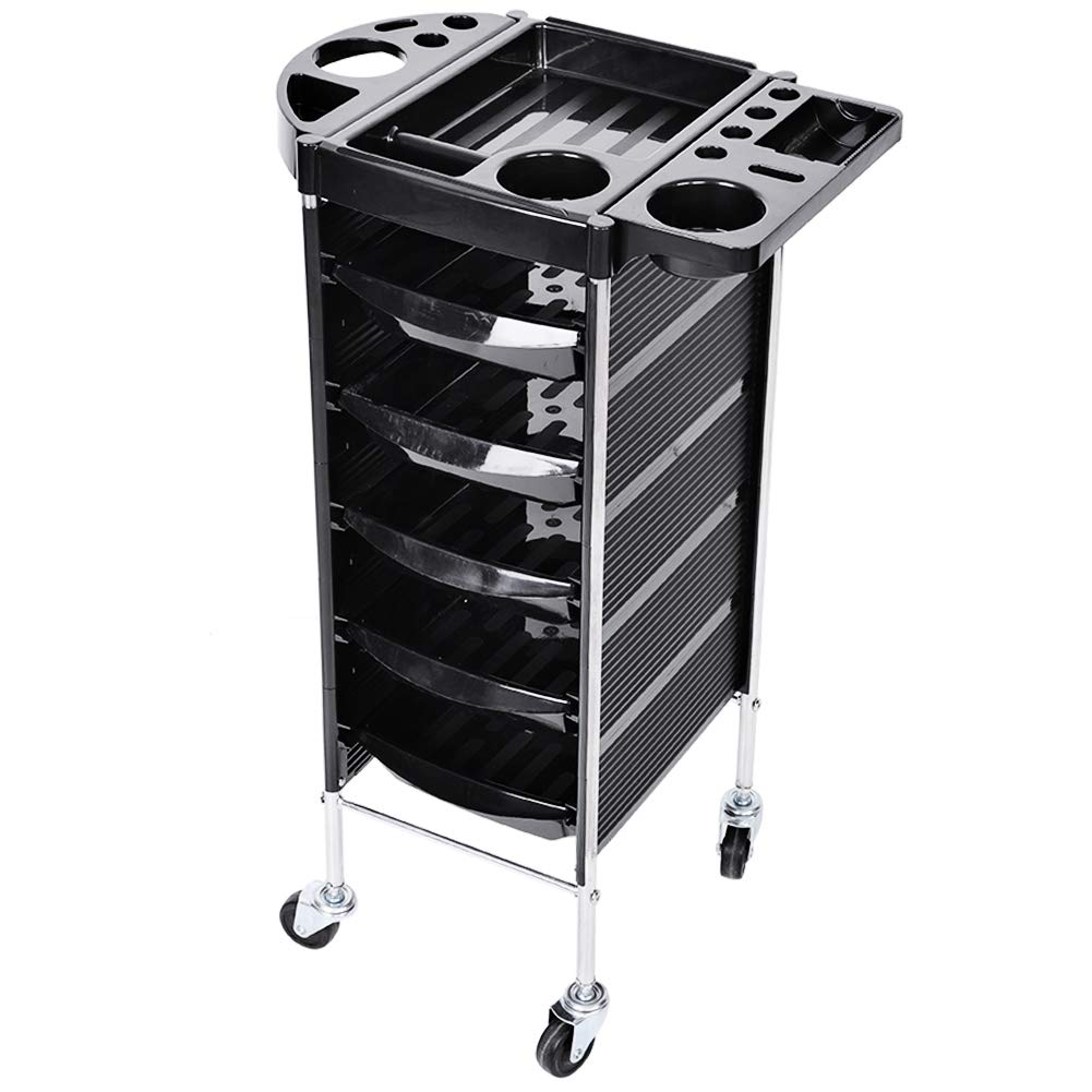 Beauty Hair Salon Instrument Storage Rolling Trolley Cart with Hair Dryer Holder Adjustable Height and 5 Drawers Black (2#) Estink