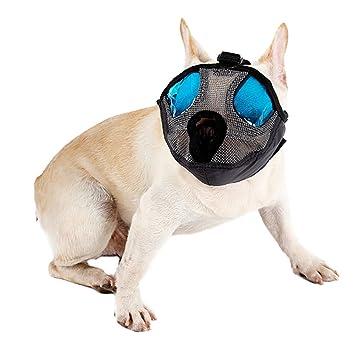 DELIFUR Bozales para perros Mesh Short Snout Dog Bozal para mascotas Mš¢scara Anti Bite Boca respirable Bozales Basket para Bulldog Pug y SharPei: ...