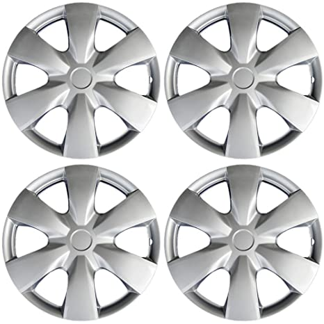 15 inch Hubcaps Best for 2009-2012 Toyota Yaris- (Set of 4) Wheel Covers 15in Hub Caps Silver Rim Cover - Car Accessories for 15 inch Wheels - Snap On ...