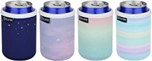Premium Neoprene Standard Can Sleeves 4pcs Pack Can Insulators Cooler Holder 12oz Beer Can Skin Covers Hide a Beer Can Cover for Red Bull, Michelob Ultra, Truly - Great (Colorful Sky)