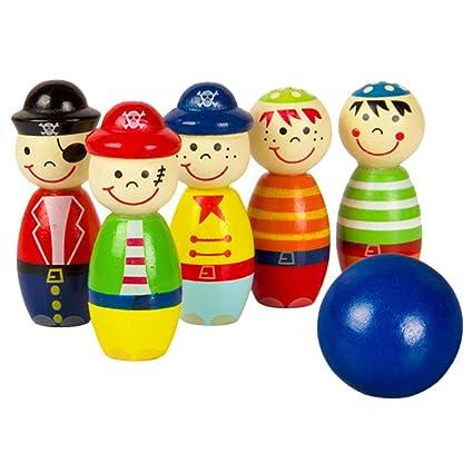 Amazon com: 6PCS Pirate Wooden Mini Bowling Digital Indoor