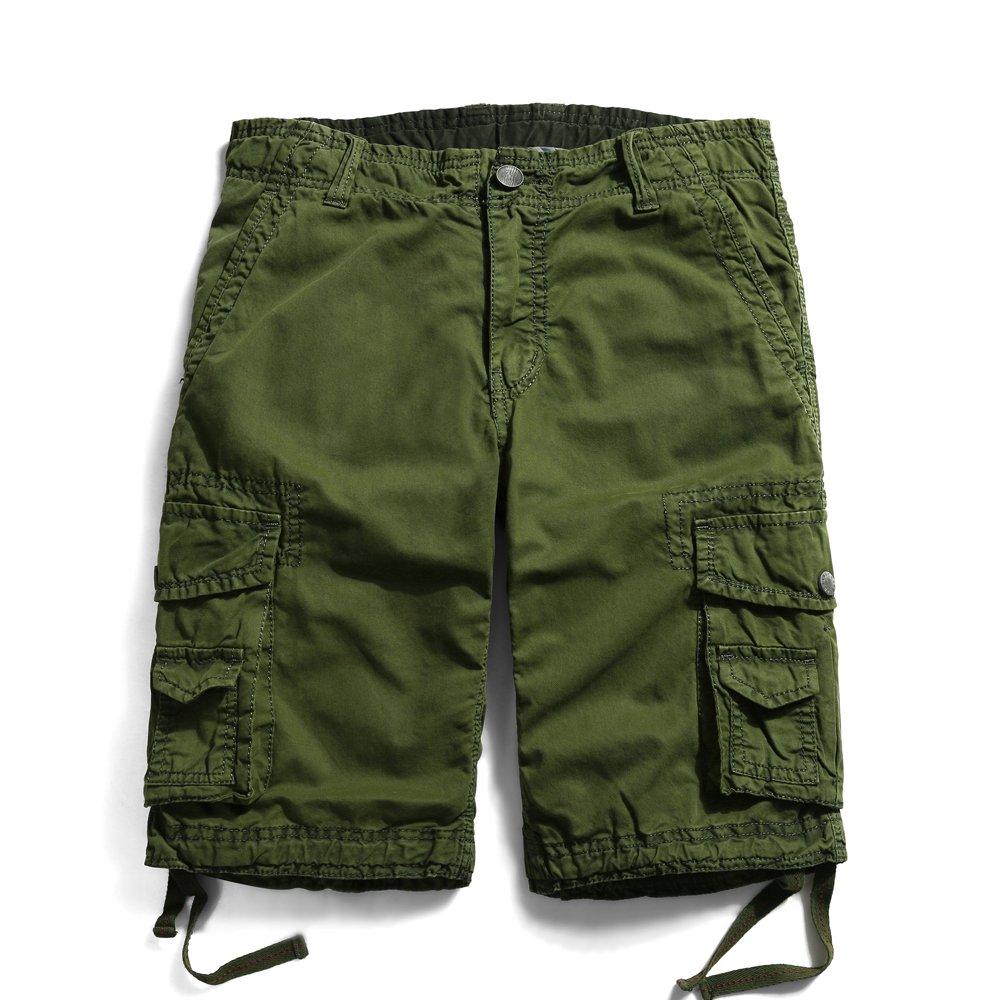 OCHENTA Men's Cotton Casual Multi Pockets Cargo Shorts #3231 Army Green 44