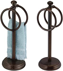 """mDesign Decorative Metal Fingertip Towel Holder Stand for Bathroom Vanity Countertops to Display and Store Small Guest Towels or Washcloths - 2 Hanging Rings, 14.25"""" High, 2 Pack - Bronze"""