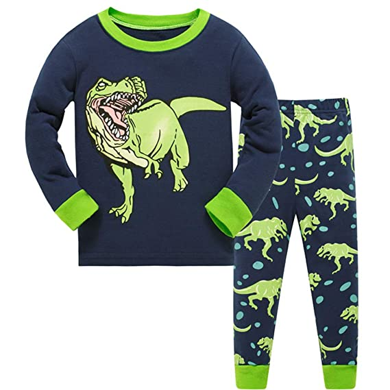 LitBud Toddler Boys Dinosaur Pyjamas Dinosaur Long Sleeve Nightwear Sleepwear Pjs Set Sleepsuit 2pcs for Kids for 2-10 Years