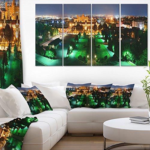 Designart Lighted Montreal City at Night Cityscape