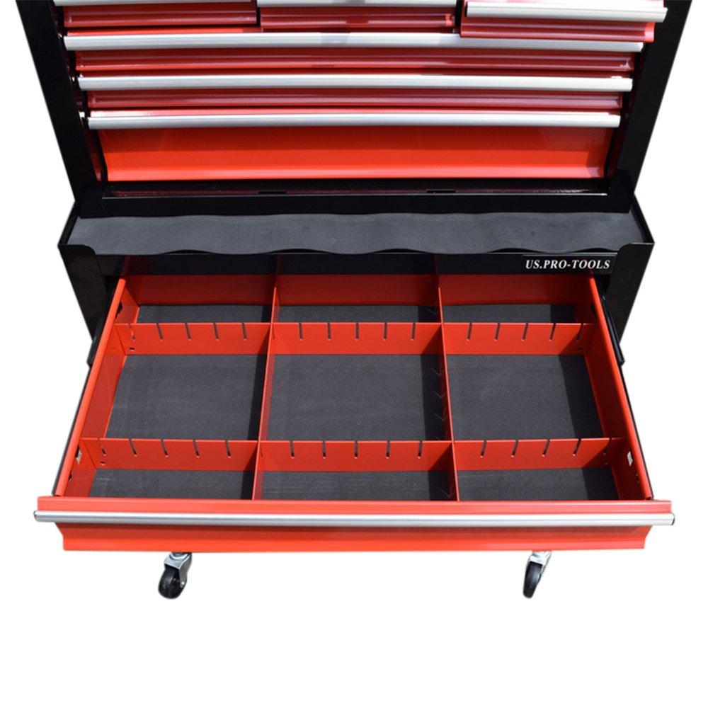 Carro de herramientas US PRO TOOLS con cajones separados y ruedas, color rojo y negro: Amazon.es: Bricolaje y herramientas