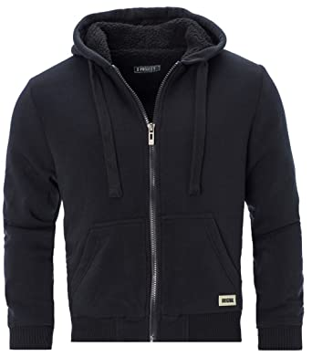 aebff79a7961b D-PROJECT Mens Padded Borg Fleece Sherpa Lined Full Zip Up Hoodie  Sweatshirt Jacket  Amazon.co.uk  Clothing