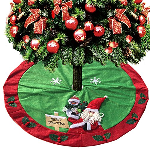 D FantiX Santa Snowman Christmas Tree Skirt 48 Inches Decorations Indoor Outdoor Red