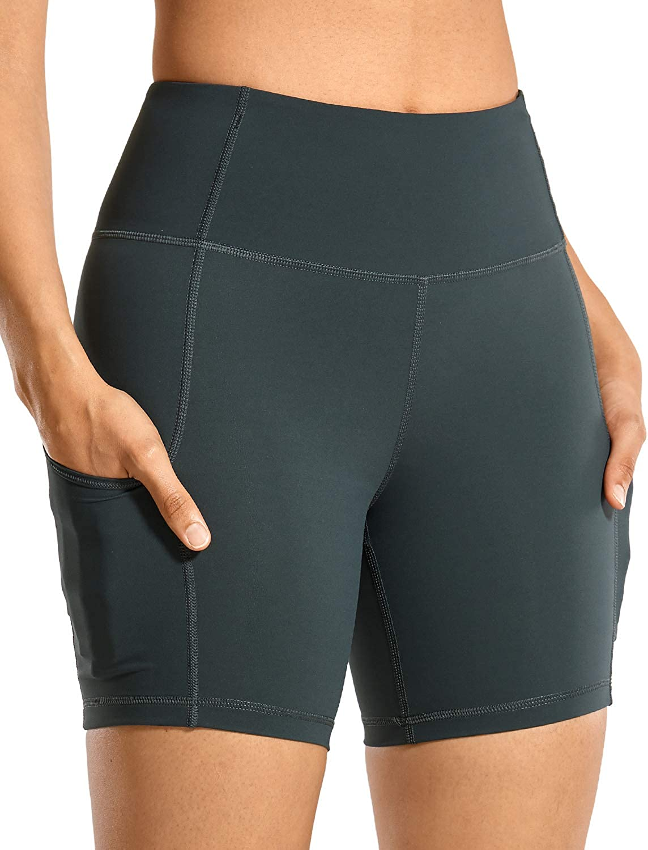 CRZ YOGA Mujer Pantalones Cortos Deportivos de Cintura Alta,Running Pantalones Cortos con Bolsillo Lateral-15.24cm