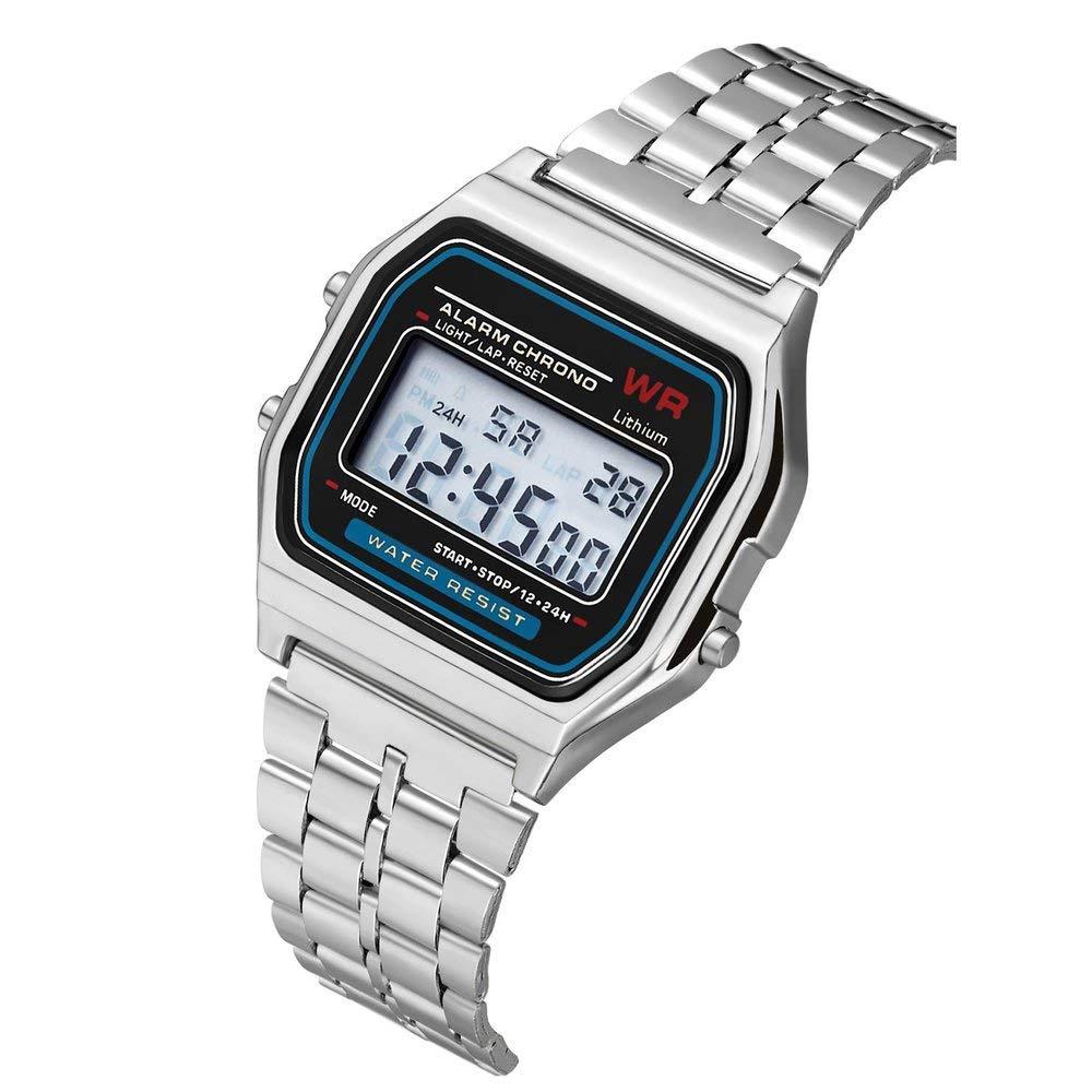 Reloj del Reloj del Reloj de la Alarma de la Correa del Acero Inoxidable del Reloj de la Vendimia de Digitaces de la Manera Vestido Reloj de Pulsera ...