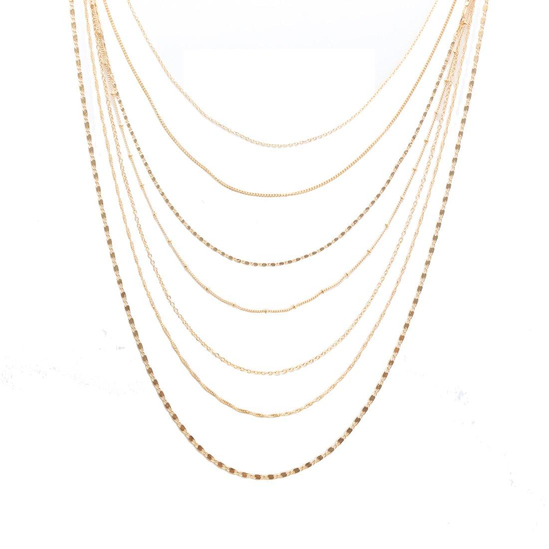 a3278d70b3a76 Amazon.com  ELEARD Women Multi Chain Layered Necklace Waterfall Multi  Strand Jewel Chain Tassel Necklace (Gold)  Jewelry