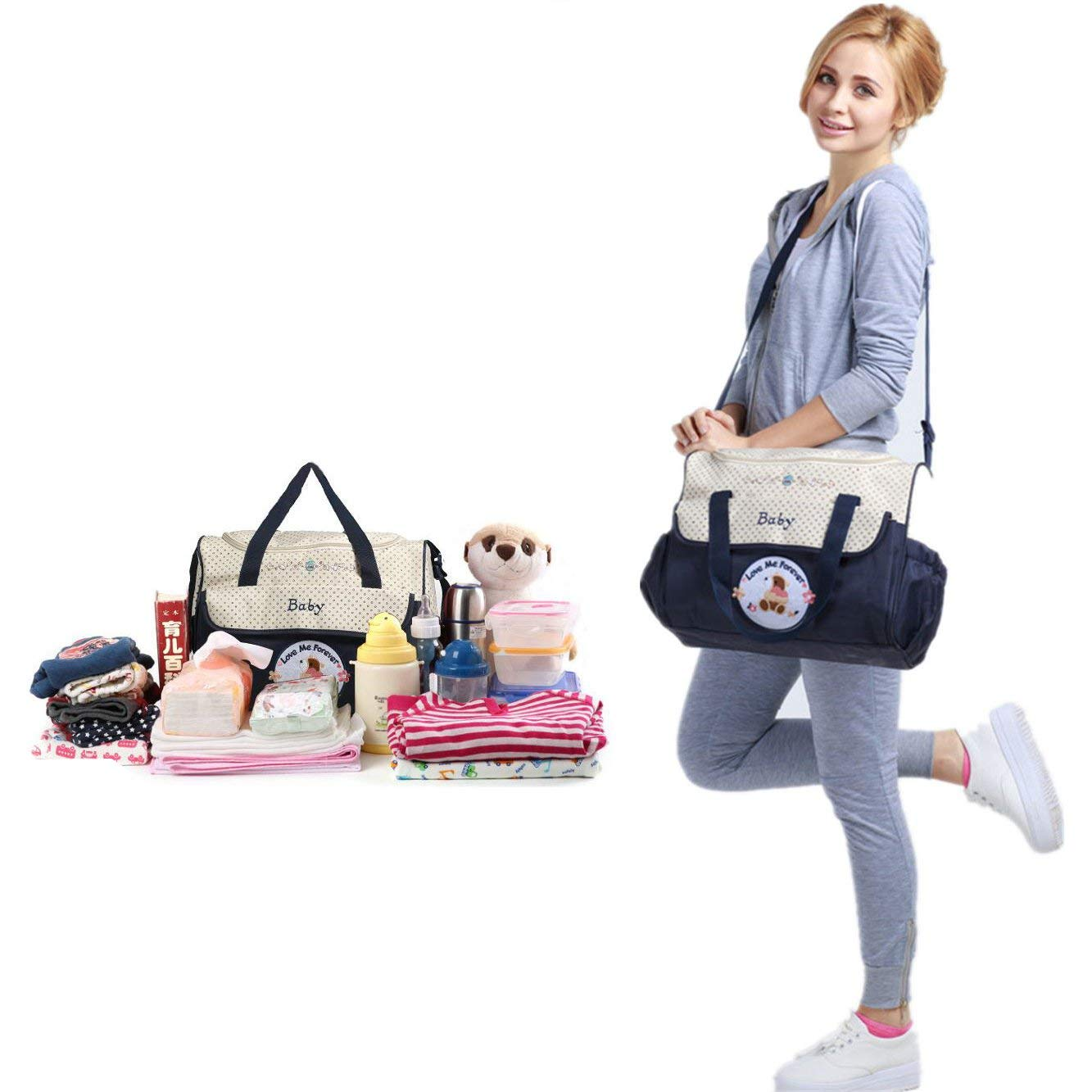 Multifunction Large Capacity Waterproof Insulated Mummy Bag Five Pieces from Mother and Child Package Shoulder Bag with Changing pad Navy Diaper Bag for Baby by