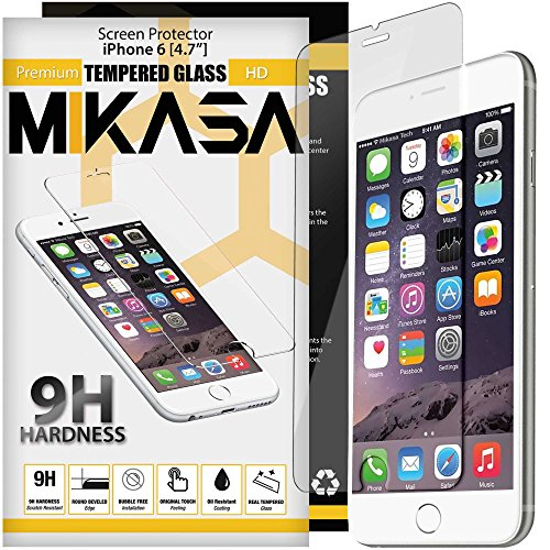 iPhone 6 [ 9H Tempered Glass ] Premium HD Screen Protector [ 4.7 Inch ] MIKASA TECH iPhone 6s Screen Protector 3D Touch Compatible Screen Protector for iPhone 6s Shatter Resistant Oleophobic Coating