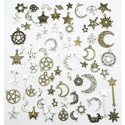 Celestial Mixed Sun Moon Star Charms, JIALEEY Wholesale Bulk Lots Antique Alloy Charms Pendants DIY for Necklace Bracelet Jewelry Making and Crafting, 100g(74PCS) from JIALEEY