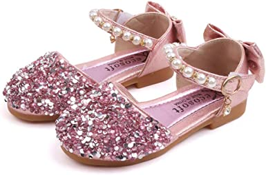 Baby Toddler Girls 2019 Autumn Mary Jane Dress Shoes for 1-6 Years Old Kids Sequins Princess Shoes Flat Shoes