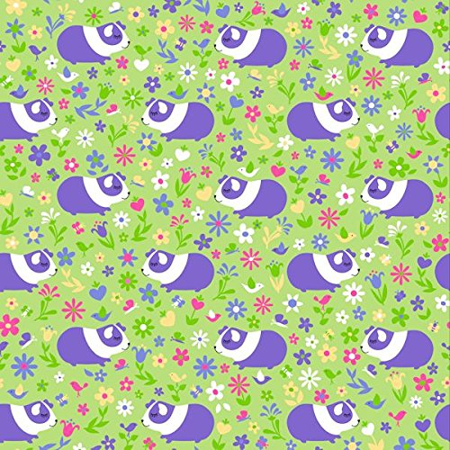 Guinea Pig Fleece Fabric Sold By The Yard - Premium, Anti-pill, Green, Pink, Purple, Flowers