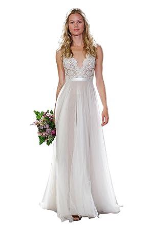 Wählen Sie für authentisch heiß seeling original komplettes Angebot an Artikeln NUOJIA Spitze Hochzeitskleid Strand Lang Tüll Böhmischen Boho Brautkleider  Standesamt