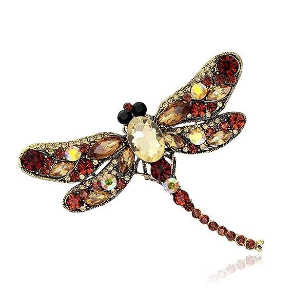 dernière collection bon service 100% qualité garantie Mengonee Rhinestone de la libélula broche animal de la ...