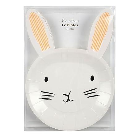 bunny paper plates meri meri bunny shaped paper party plates  sc 1 st  Amazon UK & bunny paper plates meri meri bunny shaped paper party plates ...