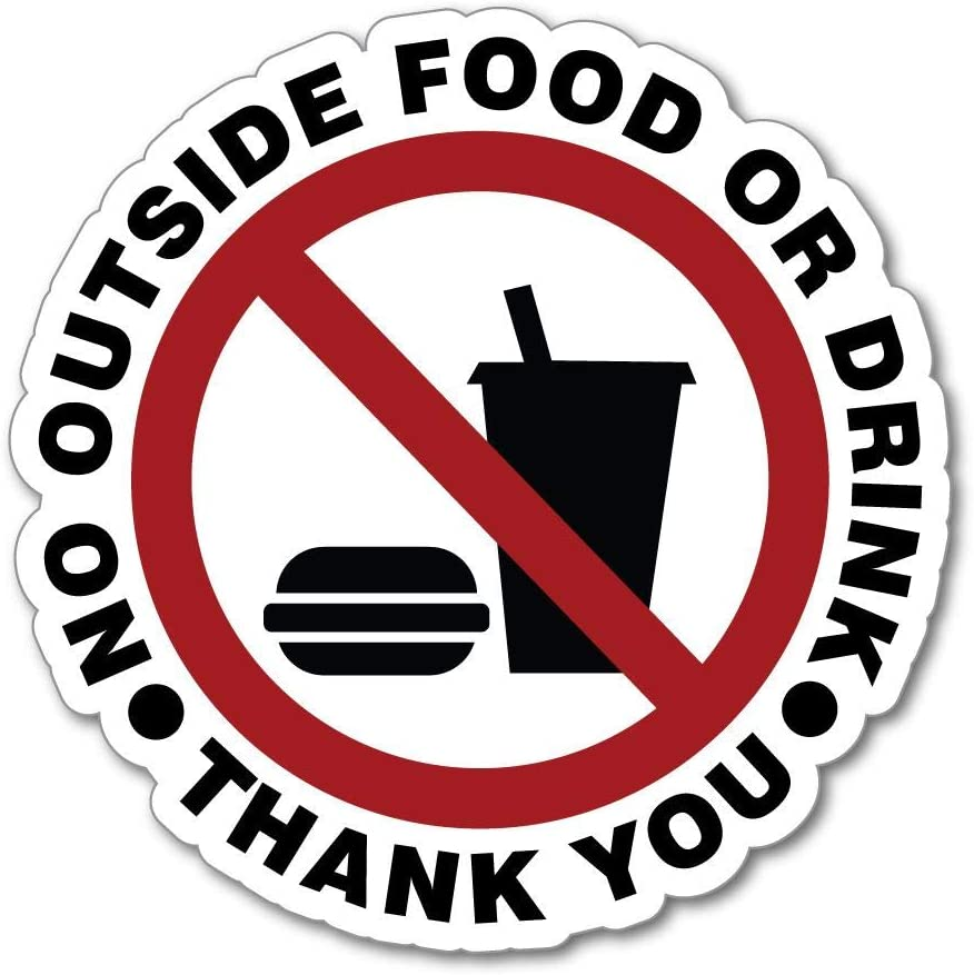 No Food or Drink Sign Thank You Please Warning CAF� Restaurant Car Sticker Decal