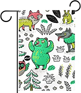 ASDFJKL Cartoon Fox Bear Wolf and Owl Garden Flag Yard House Flag Small Vertical Double Sided Rustic Farmhouse Spring Summer Seasonal Outdoor Decoration,12x18in