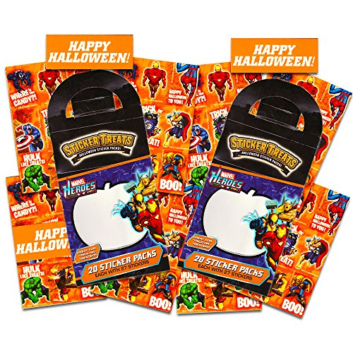 Disney Marvel Halloween Party Favors Stickers for Kids Toddlers -- Set of 40 Party Favor Sticker Packs Featuring Spiderman and Marvel Avengers (Marvel Halloween Party Supplies) (Halloween Party Favors For Toddlers)