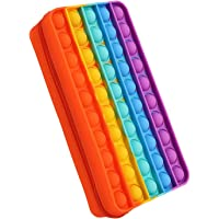 Minety Silicone Pencil Case Kids Cute Stationery Storage Bag Push Pop Bubbles Fidget Sensory Toy for School Home College